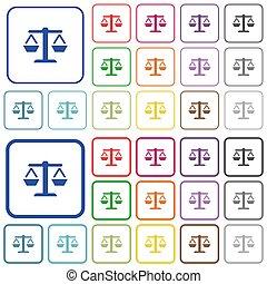 color, plano, contorneado, balance, iconos