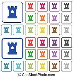 color, plano, contorneado, bastión, iconos