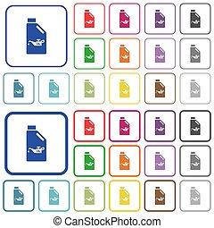 color, plano, engrasador, iconos, bote, aceite, contorneado
