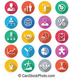 color, plano, iconos del negocio