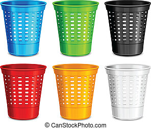 Color plastic basket, trash bins on white background, vector...