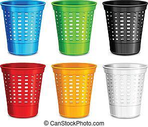 Color plastic basket, trash bins on white background, vector...