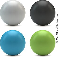 Color plastic spheres isolated on white background.