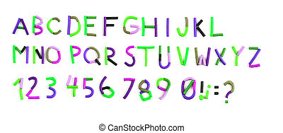 color plasticine alphabet isolated on the white