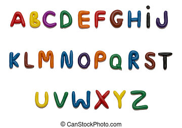 Color plasticine alphabet, isolated