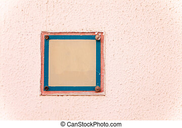 Color Plate on a textured wall. Copy space