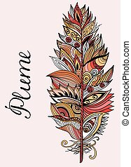 Color plume with lettering. Vector illustration. - Color...