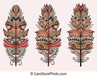 Color plumes. Vector illustration.