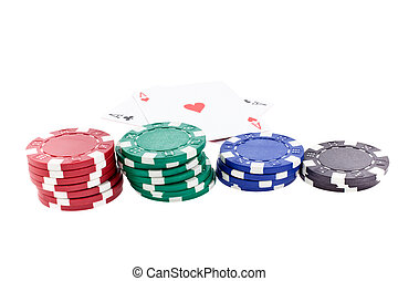 color poker chip stacks and two ace cards