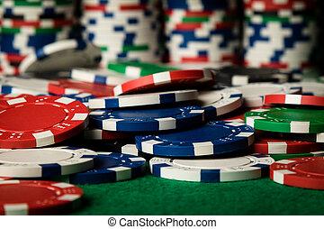 color poker chips close up