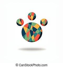 color polygonal paw vector graphic design