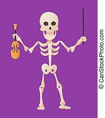 color, posar, arco, humano, huesudo, tenencia, violín, vector, caricatura, muerto, esqueleto, hands., el suyo, skeletal., divertido, ilustración, plano de fondo, hombre, huesos, character.