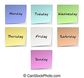 Weekdays - Color Post-it Notes With Handwritten Weekdays
