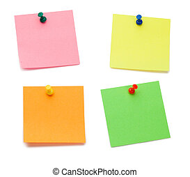 Color post-its with drawing pins on a white background