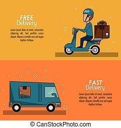 color poster banner scene fast delivery man scooter with packages and truck