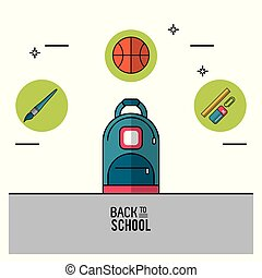 color poster of back to school with backpack in closeup and brush and basketball ball and rule with paperclip and eraser on top in round frames