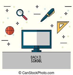 color poster of back to school with computer in closeup and eraser and basketball ball and magnifying glass and pen and rule squad on top