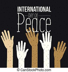color poster of international day of peace with silhouette hands up