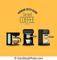 color poster of premium coffee beans of the best coffee since 1970 with set coffe maker and espresso machine