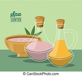 color poster of spa center with bowl and set of essences bottles