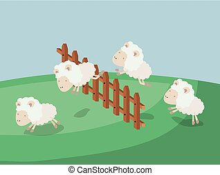 color poster scene landscape of sleep time with sheeps jump wooden fence
