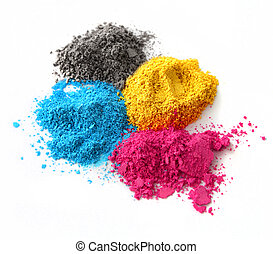 Color chalk powder cyan magenta yellow black isolated on white background