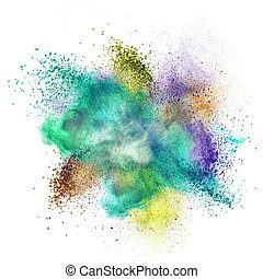 Color powder explosion isolated on white