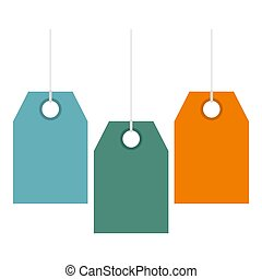 Color price tags icon, flat style