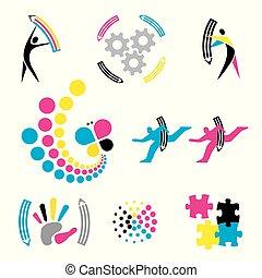 Color print, graphic design icons.