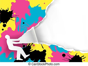 Color Print Promotion Template with CMYK splash.