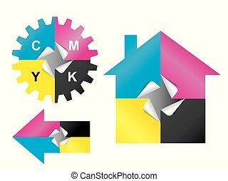 Color print sticker design elements.