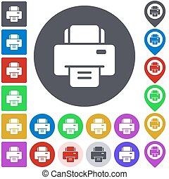Color printer icon set