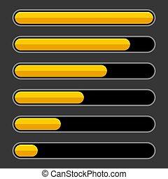 Color Progress Bar Set on Dark Background. Vector