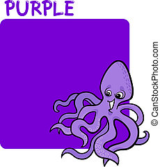 Color Purple and Octopus Cartoon
