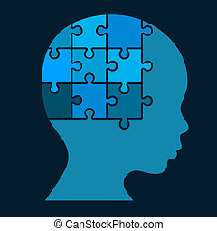 Color Puzzle Human Head Silhouette. Vector Illustration