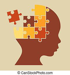 Color Puzzle Human Head Silhouette. Vector