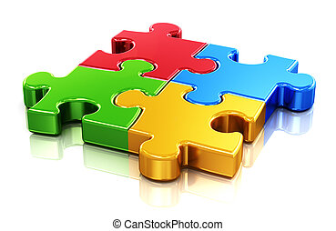 Creative business, office, teamwork, partnership and communication corporate concept: logo from four color red, blue, green and yellow puzzle jigsaw pieces isolated on white background with reflection effect