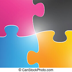 color puzzle pieces illustration design