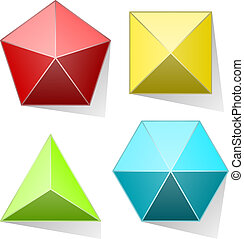 Color pyramid set isolated on white background.