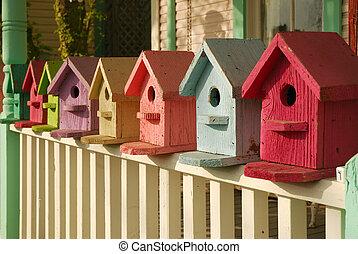 color, qué, su, birdhouse