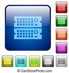 Color rack servers square buttons