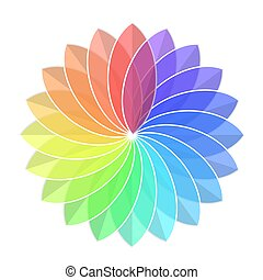 Color Rainbow Wheel Flower on White, stock vector illustration