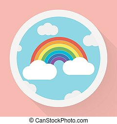 Color rainbow with clouds, Flat style