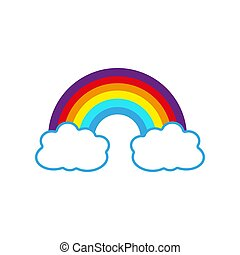 Color Rainbow With Clouds, With Gradient Mesh, Vector Illustration
