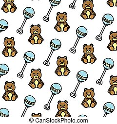 color rattle and teddy bear toys background