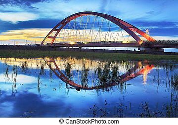 Color Red Bridge Sunset, Chuk Yuen, Taoyuan County, Taiwan
