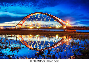 Color Red Bridge Sunset, Chuk Yuen, Taoyuan County, Taiwan...