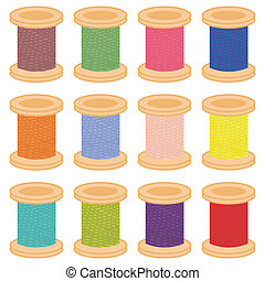 color reels of thread on white background vector...