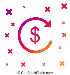 Color Refund money icon on white background. Financial services, cash back concept, money refund, return on investment, savings account, currency exchange. Gradient dynamic shapes. Vector Illustration