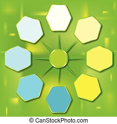Color report template with hexagons.